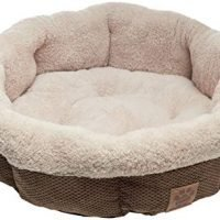 """BED ROUND 21"""" SHEARLING/COFFEE"""